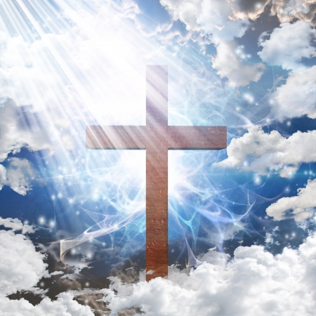crucifixion: Cross in light Stock Photo