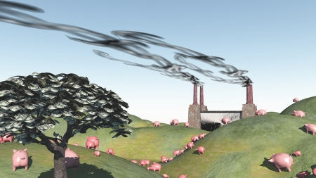 Surreal landscape with factory and pigs moviong toward factory photo