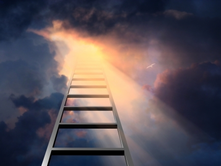 corporate ladder: Ladder into dramatic sky