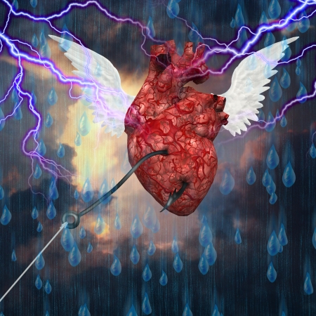 earthly: Heart flies toward heavens but still hooked to the earth
