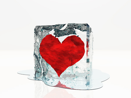 Heart frozen in ice photo