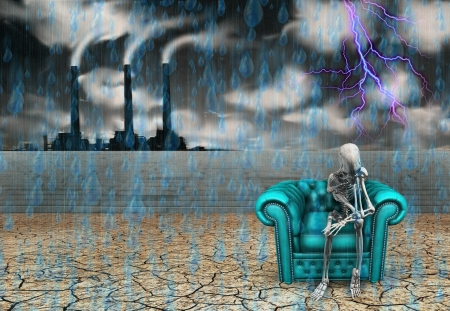 doomsday: Human skeleton with factory and pouring rain
