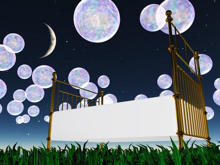 泡とベッドのある夢のような風景