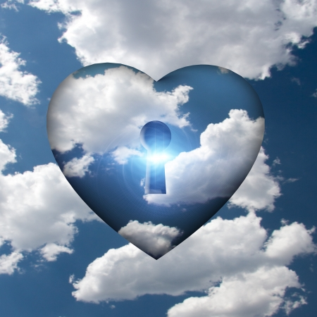 door lock love: Heart with key in clouds