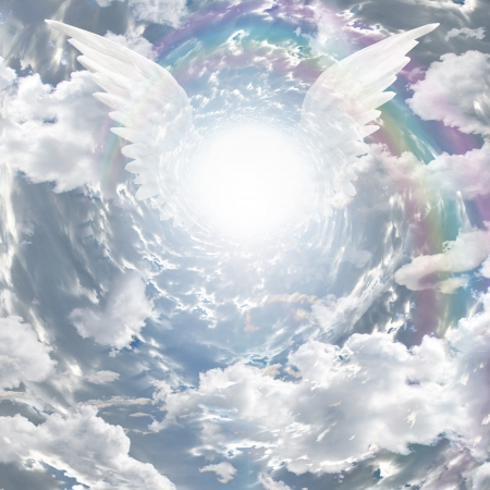 heaven: Angelic presence in tunnel of light