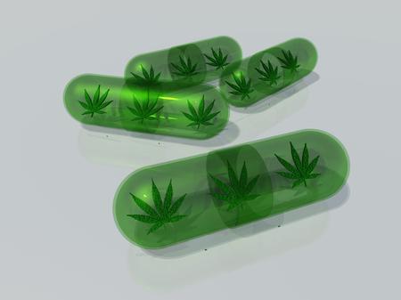 Marijuana leaf in capsule Stock Photo