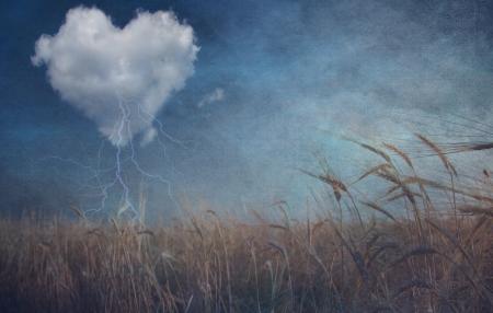 Heart cloud over field grunge textured