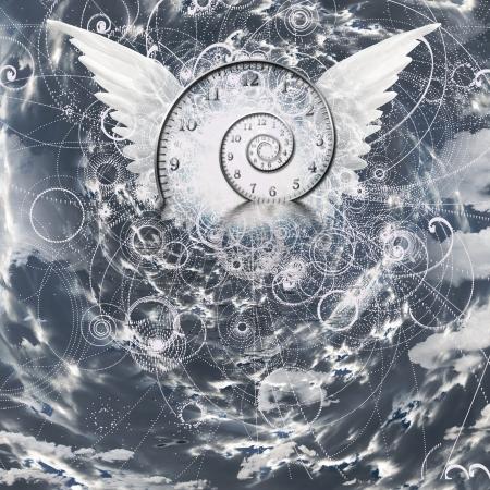 Vleugels en tijd spiraal Stockfoto