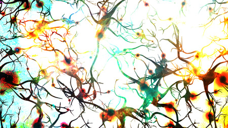 micro organism: Brain cells with electrical firing Stock Photo