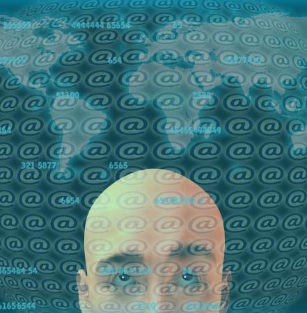 Man before digital screen