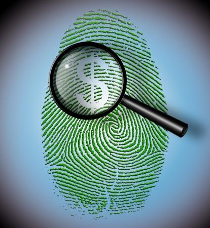 economy concept: Dollar Symbol in fingerprint under inspection