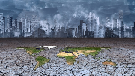 dry land: Earth sits in dried cracked mud before metropolis Stock Photo