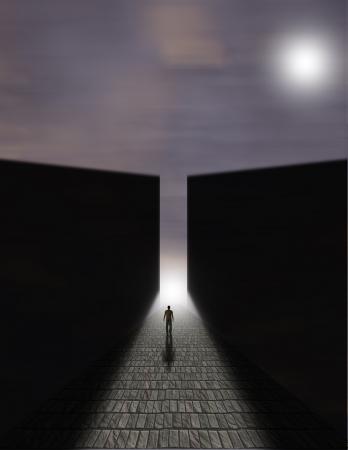 Man before large opening