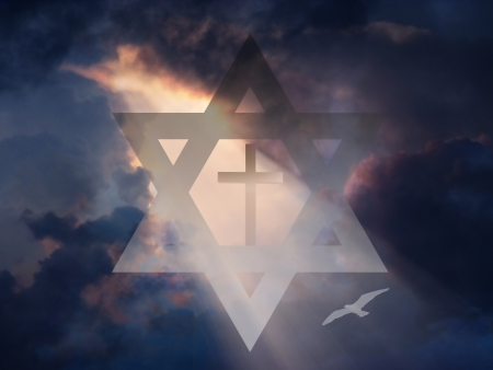 jewish faith: Cross inside Star of David in Sky
