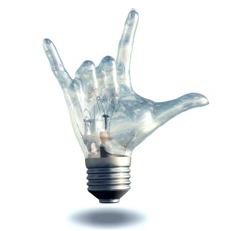 lucifer: Rock n roll horns gesture lightbulb