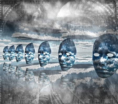 Faces empty in abstract composition 版權商用圖片