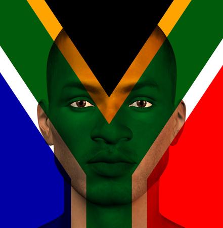 identidad cultural: Bandera sudafricana superpone a la cara mans