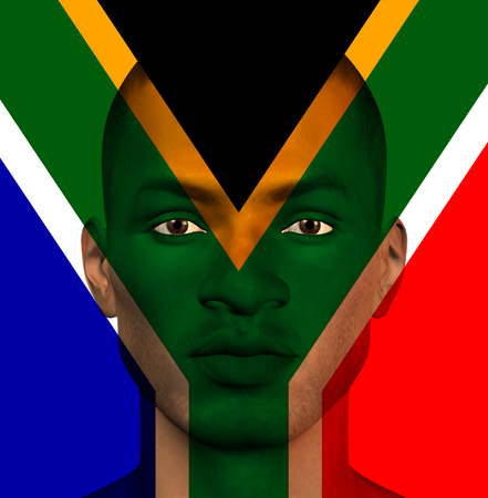 South African flag superimposed upon mans face photo