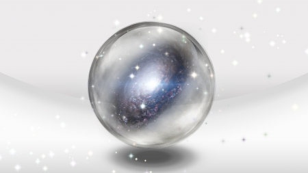 foretell: Crystal Sphere with Galaxy Stock Photo