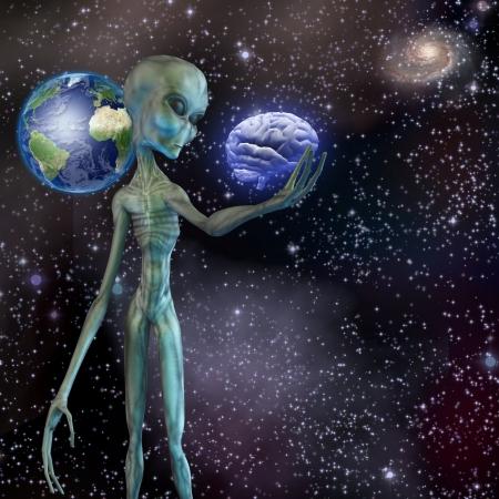 Alien réfléchit cerveau humain Banque d'images - 22771921