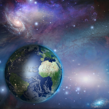 Earth day night in space  Elements in theis image were furnished by Nasa Stock Photo - 22771924
