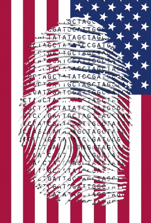 US Banner and Genetic Letters in fingermark photo