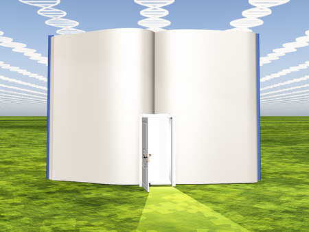genetic information: DNA clouds with open book of life
