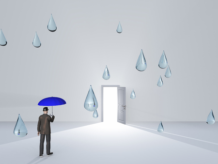 Man with umbrella and water droplets in white room with open doorway photo