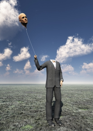 hallucination: Headless Man with Floating Head Balloon