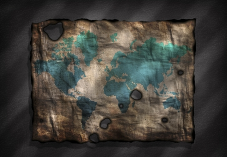 World Map on old distressed Paper Stock Photo - 22955848