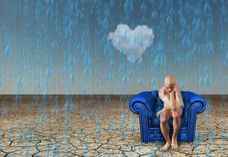 Contemplative man with desert rain