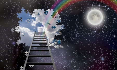 Ladder to Hole in Night Sky Reveals Day Time Skies  版權商用圖片