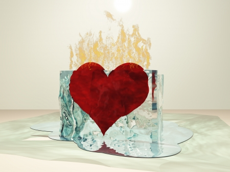 evaporate: Heart on fire melting ice