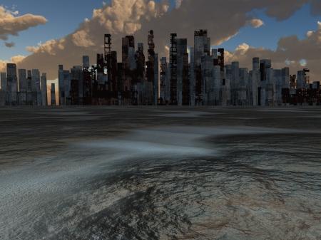 断念された都市および焼かれた地球 写真素材