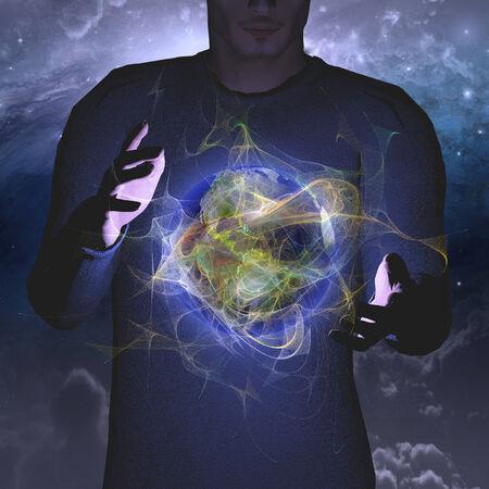 Planet hovers between hands