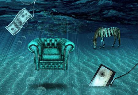 pool symbol: Fantasy Underwater scene Stock Photo