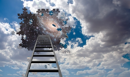 Puzzle Piece Hole in Sky, Falling Pieces and Ladder photo