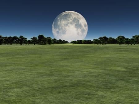 Moon over green landscape Archivio Fotografico