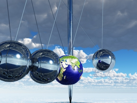 sir: Newtons Cradle Earth Stock Photo