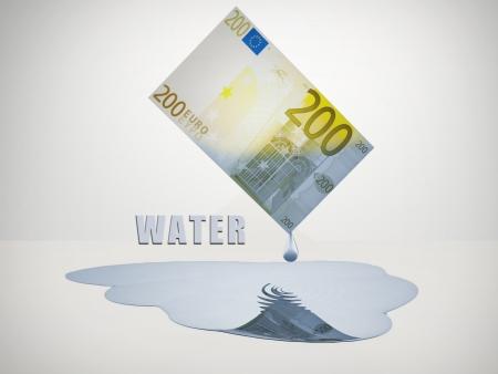 euro bill: 200 Euro bill drips freshwater