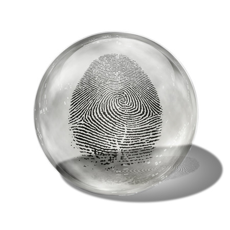 contained: Fingerprint contained in glass sphere