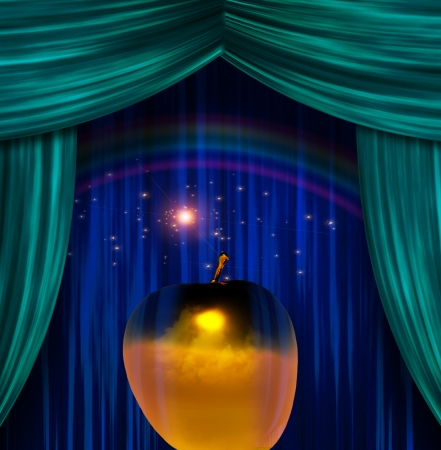 Golden Apple before Curtains Stock Photo - 23178789