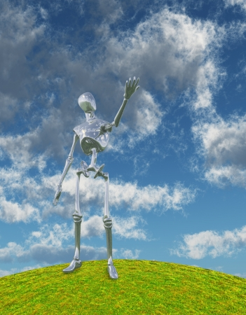 Shiny Silver Robot Stands on Hilltop Arm Outstretched