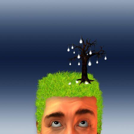 Idea tree on grassy head photo
