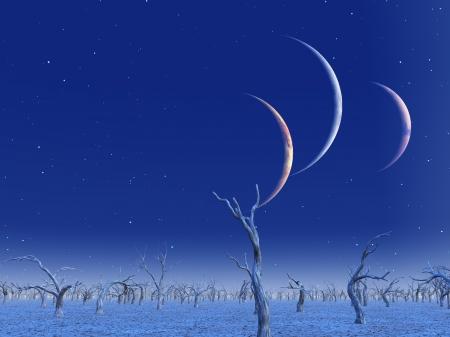 세 개의 행성은 죽은 땅 위로 상승 스톡 콘텐츠