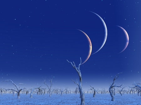 Three planets rise over dead lands Stock Photo - 23178812
