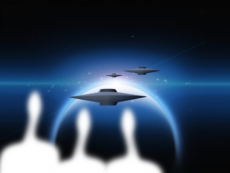 Aliens and alien planet with ships photo