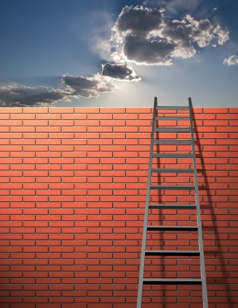 Ladder leans on wall with sky Stock Photo