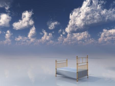 Single bed in dreamlike setting
