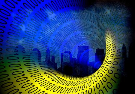 world wide web: Binary City Stock Photo